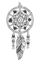 Indian dream catcher with ethnic ornaments and feather