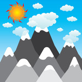 sun and clouds with mountains landscape