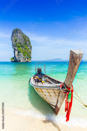 Thailand summer travel sea, Thai old wood boat at sea beach Krabi Phi Phi Island Phuket park on white sand blue sky emerald green ocean water Poster