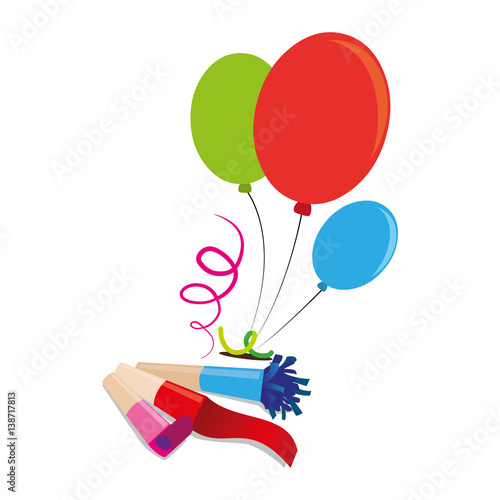 color silhouette with balloons and party blower vector illustration