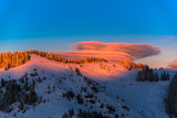 Winter sunset in carpathian mountains