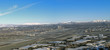 Reno Nevada Panorama with the Airport, casinos and snow covered mountains.