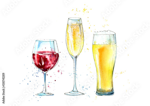 Glass of a champagne, beer and wine. Picture of a alcoholic drink.Watercolor hand drawn illustration. - 138741289