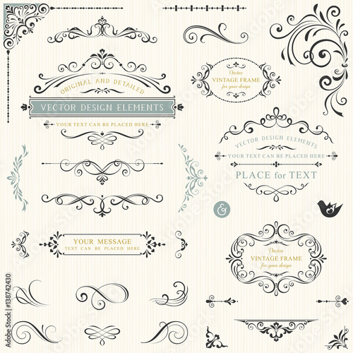 Calligraphy swirls, swashes, ornate motifs and scrolls. Vector illustration.