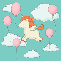 Unicorn with wings flying in the sky