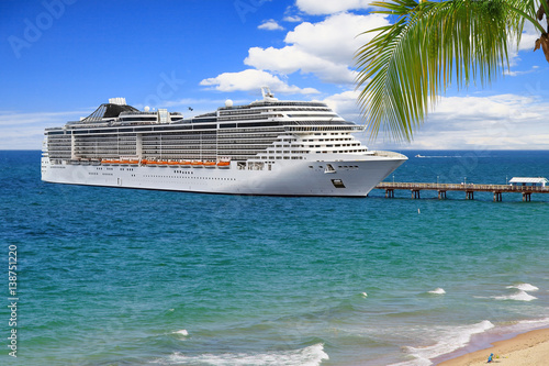 Poster Luxury Cruise Ship at pier on summer day