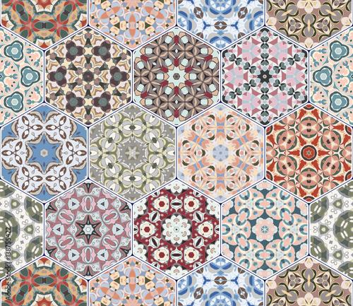 Vector set of hexagonal patterns. - 138755422
