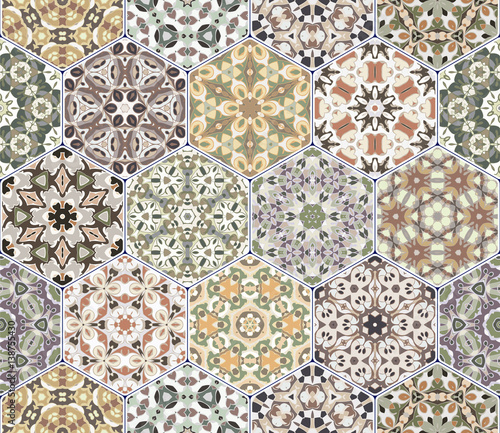 Vector set of hexagonal patterns. - 138755430