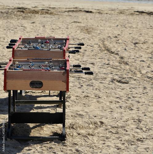 calcio balilla spiaggia Poster