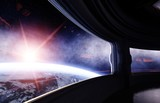 Spaceship room, corridor. Futuristic view of the earth. 3d rendering. - 138761468