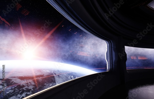 Spaceship room, corridor. Futuristic view of the earth. 3d rendering.