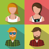 boys and girls icon on multicolor background