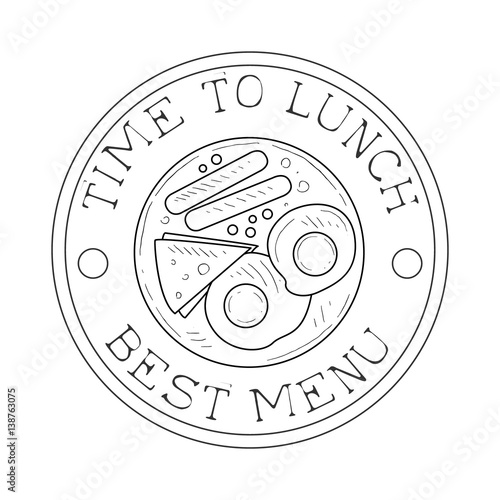 Round Frame Cafe Lunch Menu Promo Sign In Sketch Style With English