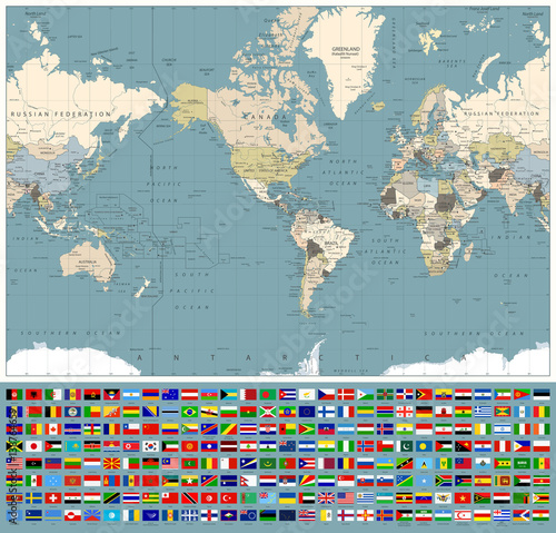 America centered world map and all world flags retro colors buy america centered world map and all world flags retro colors gumiabroncs Choice Image