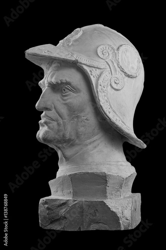 Poster White plaster bust, sculptural portrait of warrior in armor and helmet Bartolome