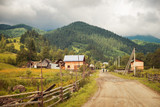 road in the village in the Carpathian mountains