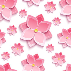 Floral seamless pattern with sakura blossom
