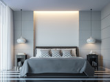 Fototapety Modern white bedroom minimal style 3D rendering Image.There white empty wall.Decorate room with black grey white color and  hidden light on wall