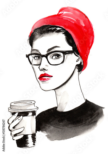 Girl in glasses and red hat with a cup of coffee - 138786267
