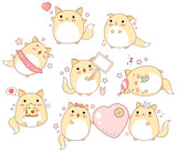 Set of cute cats in kawaii style