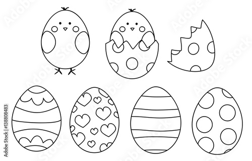 Easter eggs and chicks- coloring page