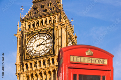 Red telephone box and Big Ben,  London, UK Poster