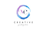MC Letter Logo Circular Purple Splash Brush Concept. - 138820280