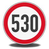 Nachbildung Verkehrszeichen - Höchstgeschwindigkeit 530 km/h