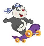 Illustration of a Cute Panda Skateboarder. Cartoon Character