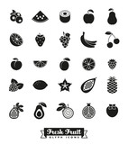 Fruit Glyph Icon Vector Set. Collection of 25 fruit symbols.