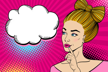 Young sexy blonde woman smiling with open mouth, with a bow made of hair looking at speech bubble reflectively. Vector hand-drawn colorful background in pop art retro comic style.