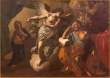 JERUSALEM, ISRAEL - MARCH 5 , 2015: The Apparition of angel to St. Joseph in the dream paint in St. Ann church by unknown artist. - 138830809