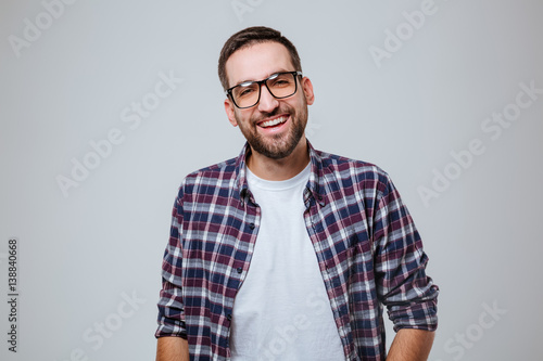 Poster Bearded man in shirt and eyeglases