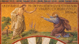 BERLIN, GERMANY, FEBRUARY - 14, 2017: The Fresco of Jesus with doubting Thomas in Herz Jesus church by Friedrich Stummel and Karl Wenzel from end of 19. and beginn of 20. cent.