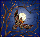 The illustration in stained glass style painting with the owl in the night starry sky and moon in between the branches of the tree