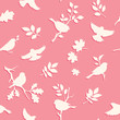 Seamless pattern with bird and twig silhouettes. Pink background with spring birds