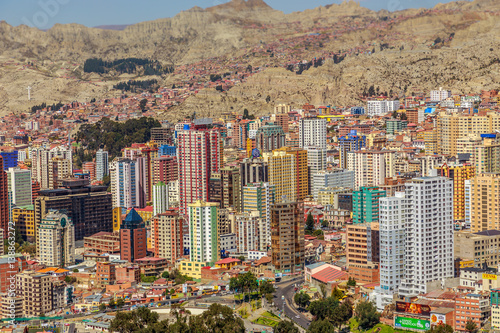 Central Business district of La Paz megapolis, Bolivia, South America Poster