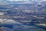 City on Volga, view from plane. Kazan, Russia