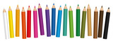 Crayons - small colored pencil collection loosely arranged - isolated vector on white background. - 138878855