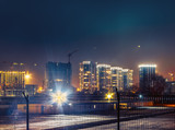 Industrial landscape of city at night, outdoor