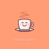 Cup of coffee with happy face vector cartoon illustration