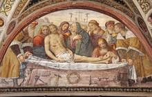 """Постер, картина, фотообои """"compianto sul Cristo morto; affresco, Chiesa di San Maurizio, Milano"""""""