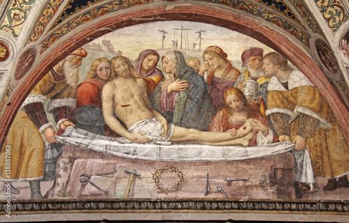 compianto sul Cristo morto; affresco, Chiesa di San Maurizio, Milano Canvas Print