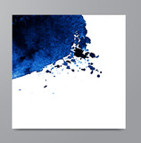 Hand drawn watercolor blue stain. - 138894004