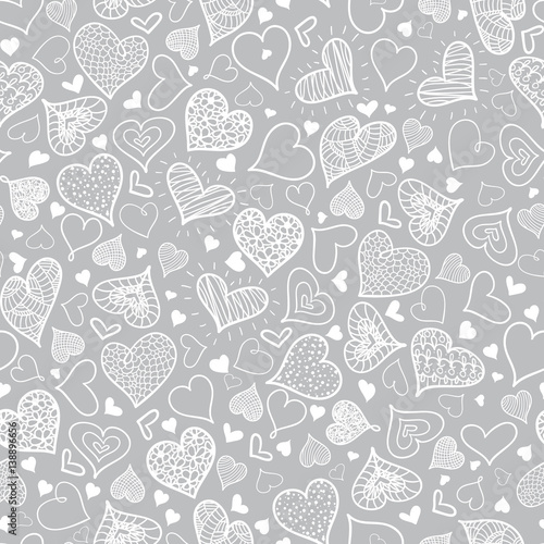 Vector Silver Grey Doodle Hearts Seamless Pattern Design Perfect For