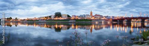 Foto op Canvas Evening panorama of Gorzow Wielkopolski with blue sky, Poland
