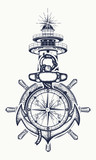 Anchor, steering wheel, compass, lighthouse, tattoo art. Symbol of maritime adventure, tourism, travel
