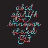 Color 3D alphabet vector pipe font - 138912008