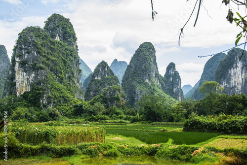 Poster Guilin Karst mountains and rural scenery in summer