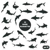 22 shark silhouettes set